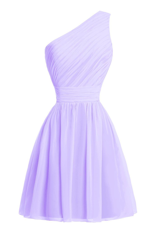Dora Bridal Women&Acute;s One Shoulder Prom Party Bridesmaid Dresses Lilac