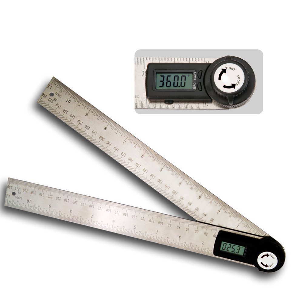 11 Inches Angle Protractor, RISEPRO 2in1 Digital Stainless Steel Angle Finder Meter Protractor Ruler 360° (280mm X 2 blades) 82305-300