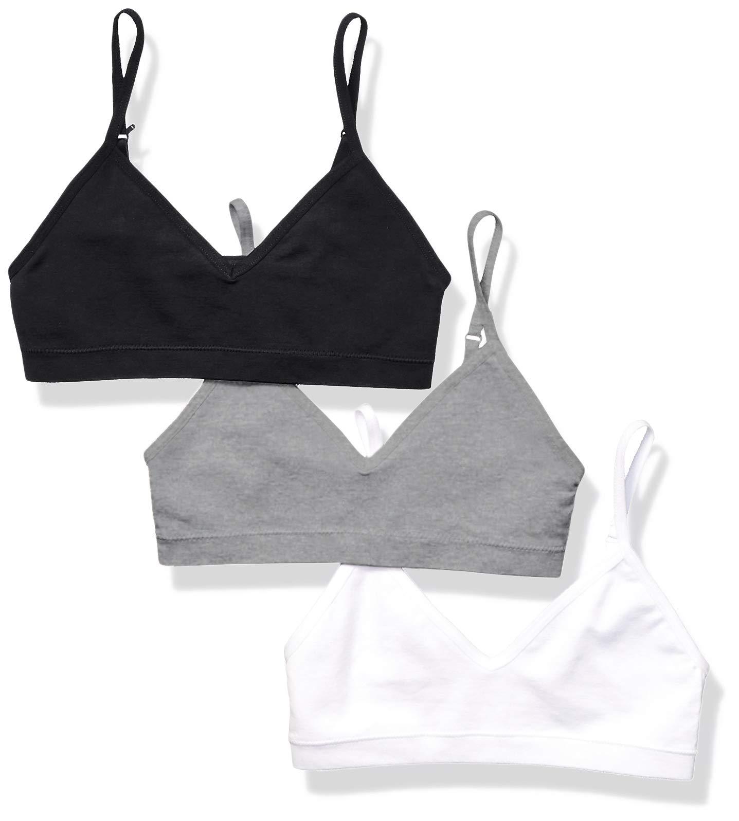 Amazon Essentials Girls' 3-Pack Seamless Training Bra, Grey Heather/White/Black by Amazon Essentials