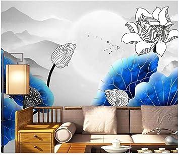 Gbhl Papel Tapiz Fotográfico Para Paredes 3 D Mural Nuevo Dibujo De Línea De Tinta Azul
