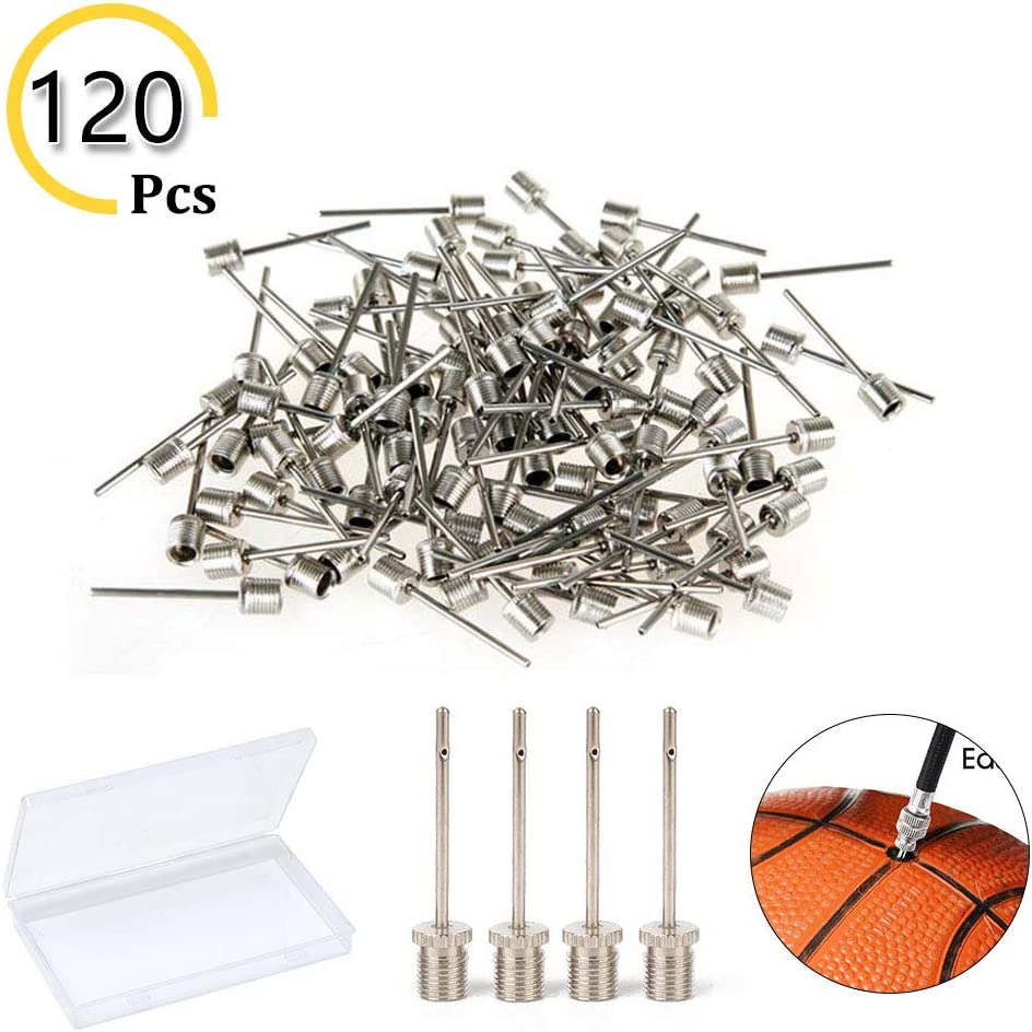 Ball Pump Inflation Needles 120Pcs Pump Needle Adaptor with Portable Storage Box, Inflatable Air Pump Needle for Basketball, Soccer Ball, Volleyball, Rugby Balls or Other Inflatables Replacement