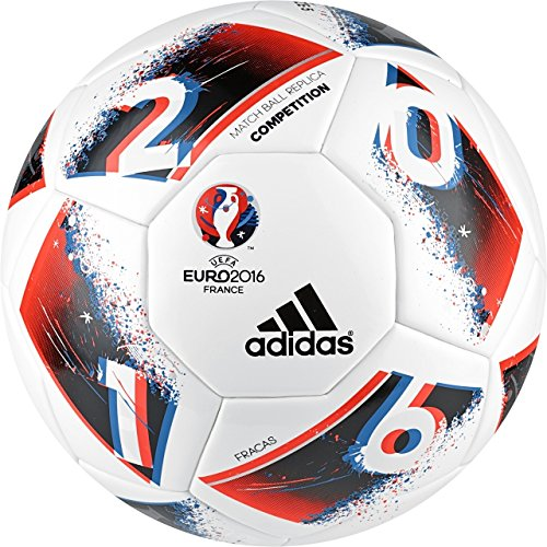 Soccer Red Adidas Ball (adidas Performance Euro 16 Competition Soccer Ball, White/Bright Blue/Solar Red/Silver Metallic, Size 5)