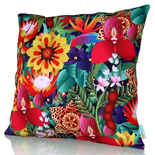 Bright Floral Colorful Large European Pillow Cover Indoor/Outdoor Flowers Decks, Sofas, Patios - Cover Only No Inner by Sunburst Outdoor Living