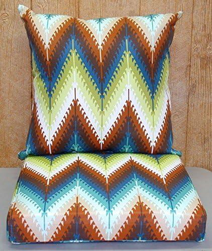 Buffaloe Creek Sales Pueblo Flame Stitch 2-Pc Outdoor Dining Seat Cushion Set 21x21x6 / 21x21x4.5 New