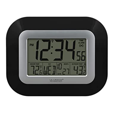 La Crosse Technology WS-8115U-B Atomic Digital Wall Clock with Indoor and Outdoor Temperature, Black