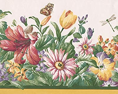 Red Yellow Purple Wildflowers Butterfly Dragonfly Nature Wallpaper Border Retro Design, Roll 15' x 8.5''