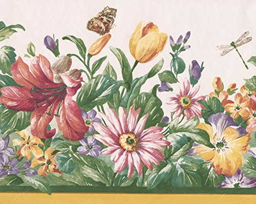 Red Yellow Purple Wildflowers Butterfly Dragonfly Nature Wallpaper Border Retro Design, Roll 15' x 8.5'' Dragonfly Border