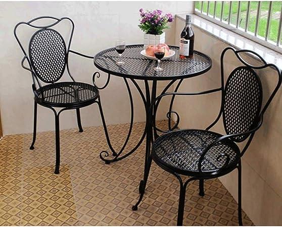Du hui Mesa y sillas de Comedor de Hierro al Aire Libre, balcón balcón, Mesa Redonda y Silla de Hierro Forjado de Tres Piezas para Patio, Patio, jardín (Color : Black): Amazon.es: