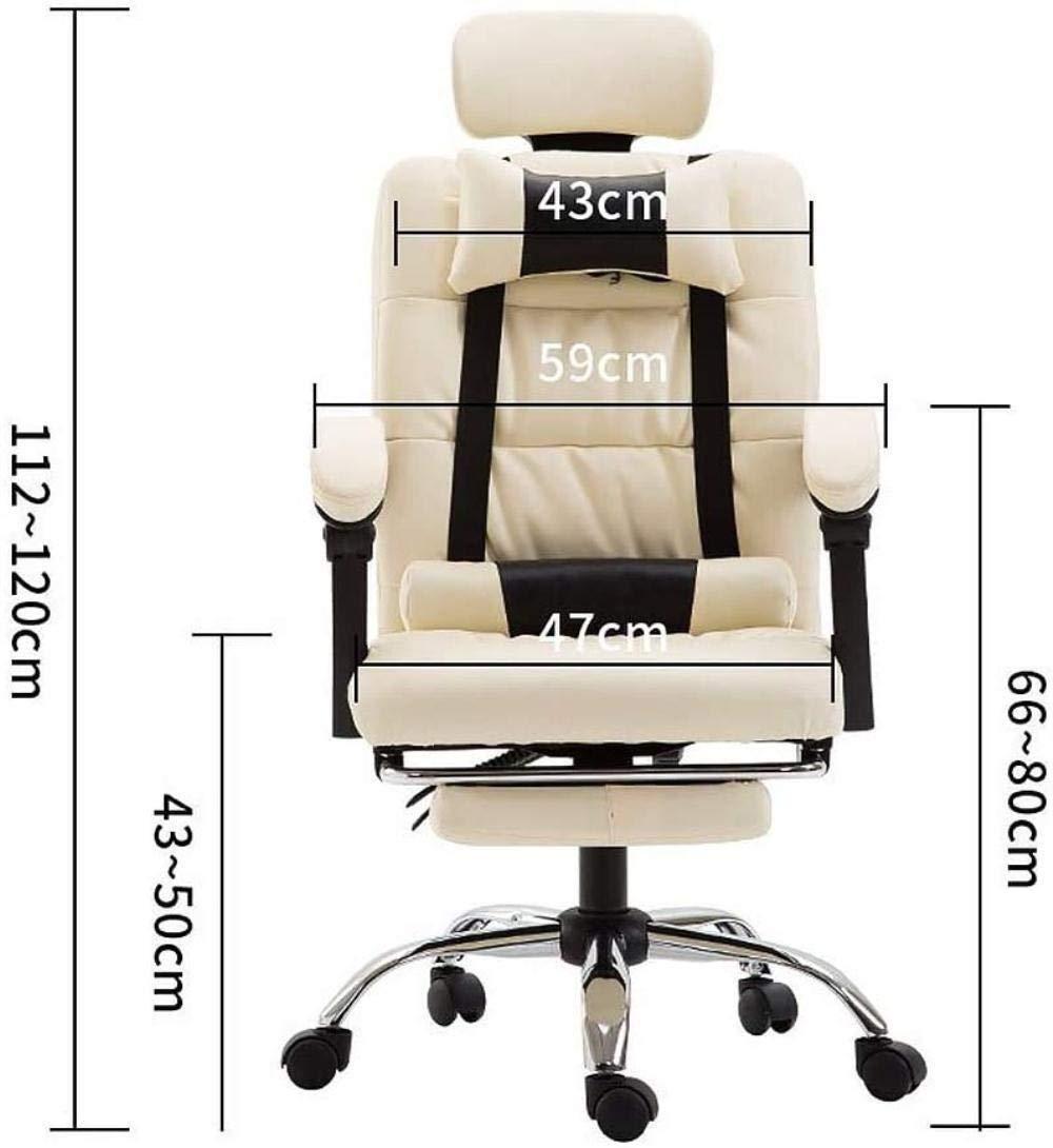 Spelstol, ergonomisk dator kontorsstol, chef stol spelstol ryggstöd hem läderstol vilande hiss svängbar stol knästol (färg: Ljusbeige) Lightbeige
