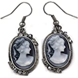 Grey Cameo Dangle Earrings Rhinestones Fashion Jewelry