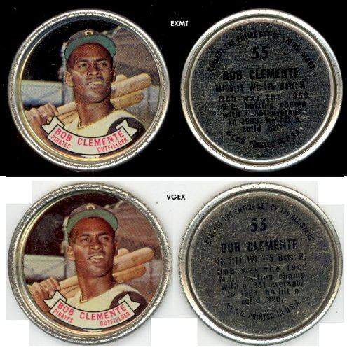 1964 Topps Metal Coins (Baseball) Card# 55 Roberto Bob Clemente of the Pittsburgh Pirates VGX Condition