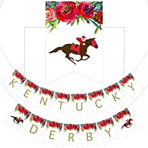Kentucky Derby Banner Party Decoration Supplies, Horse Racing Derby Day Festival Holiday Party Supplies Decorations
