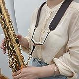 ACCOCO Real Leather Saxophone Shoulder Strap - Adjustable Genuine Leather Neck Shoulder Strap for Sax Bass Tenor Alto…