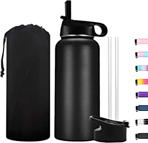 32oz Insulated Motivational Water Bottle Stainless Steel Sports Bottle with Straw & Spout Lids,Vacuum Insulated to Keep Beverages Cold for 48 Hrs or Hot for 24 Hrs (Black)
