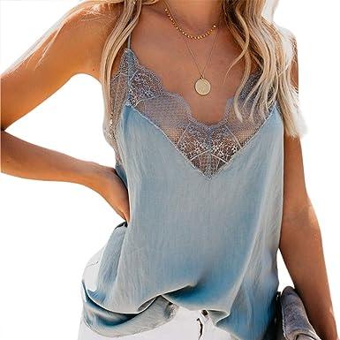 feeilty Camiseta Tirantes Mujer Blusa Top, Las Mujeres con Cuello en V de Encaje de Tiras Chaleco Tops Verano sin Mangas sin Mangas de la Camisa del Tanque Tops: Amazon.es: Ropa y