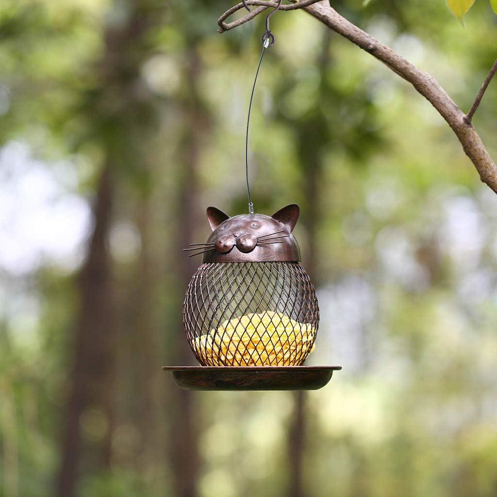 niumanery Cat-Shaped Bird Feeder Cat-Shaped Retro Handmade Outdoor Decoration