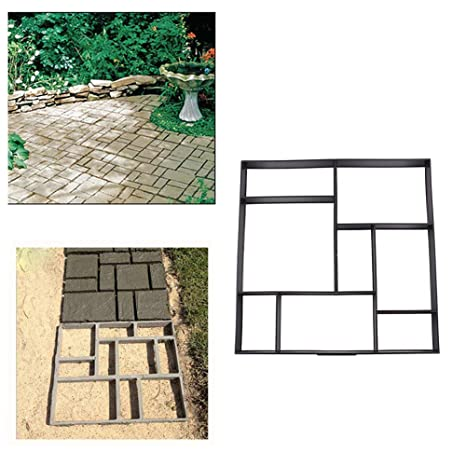 Paving Molds 1 Pcs Garden Paving Stone Path Walk Pavement Patio Maker Mould Diy Reusable Concrete Cement Mold Paving Stepping Driveway Brick