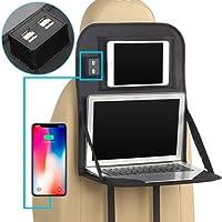 Kobwa Organiseur pour siège arrière de voiture Protector, Auto Organiseur de siège avec plateau de table repliable et 4ports USB, organiseur pour siège arrière de voiture bébé Kid Jouets, iPad, Kindle Tablette de rangement