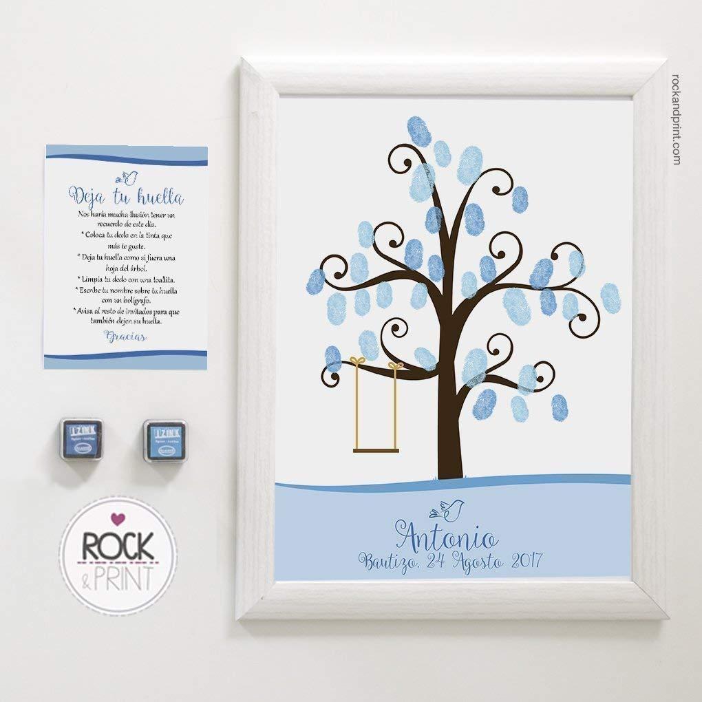 Árbol huellas con columpio bautizo. Incluye marco y tintas a elegir. Elige el color de la lámina. Cuadro huellas de invitados. Comunión y bautizo.