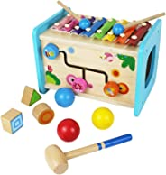 Flow.month Educational Wooden Activity Cube with Baby Xylophone Pounding Ball and Shape Sorter Baby Toddler Kids Gifts Toys