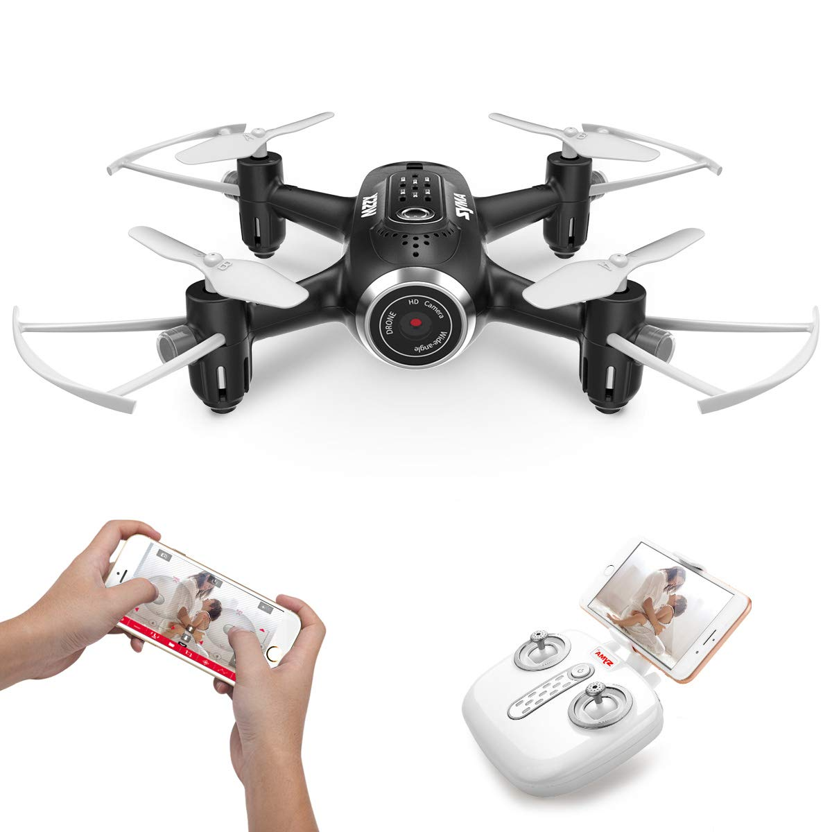 DoDoeleph Mini Drohne Mit Kamera, SYMA X22W Mini Drohne für Kinder Live Übertragung FPV Ferngesteuerter Quadrocopter, Eine Taste Start Landung Höhehalte Funktion Headless Modus Für Anfänger(schwarz )