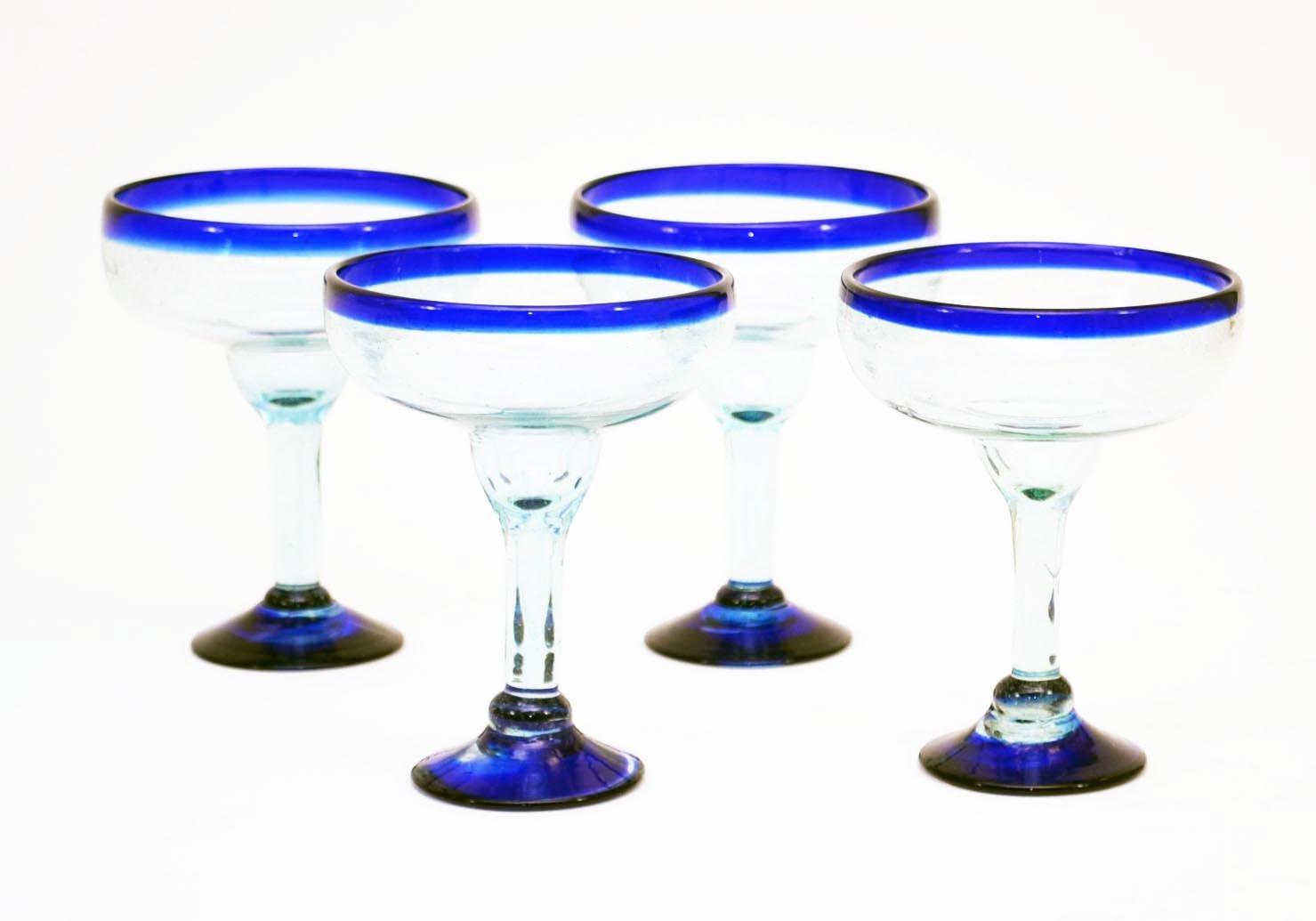 Set of 4, Handmade Mexican Blue Rimmed Margarita Glasses, Recycled Glass-16 Oz Laredo Import 2108BM