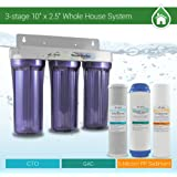 """Whole House Water Filter System 2.5"""" x 10"""" Three Stage Filtration 3/4"""" Inlet"""