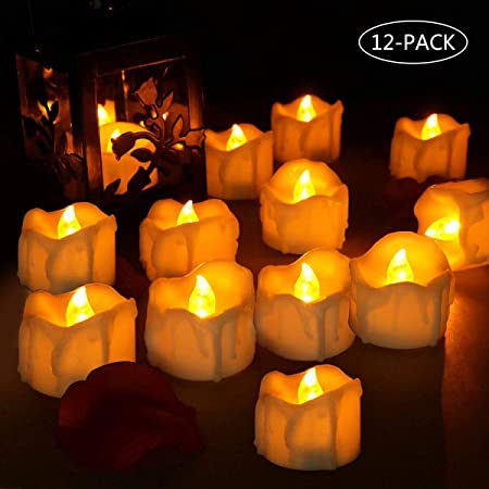 laxikoo Velas LED, 12Pcs Velas de Té LED, Vela Luz Parpadeo con Pilas Sin Llama Bodas, Cumpleaños, Fiestas, Navidad, Festivales, Restaurante, ...
