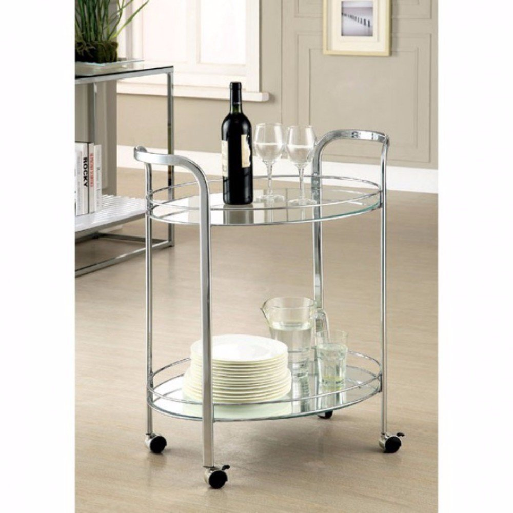 Benjara BM123211 Contemporary Serving Cart with Caster Wheels, Chrome, One Size