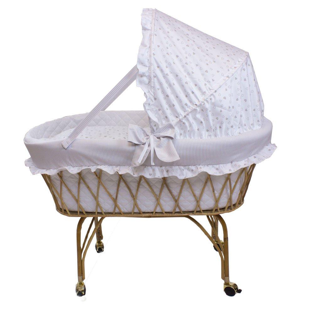 Babysanity Culla vimini per neonato Linea Romantica beige con raffinati cuoricini baby idea