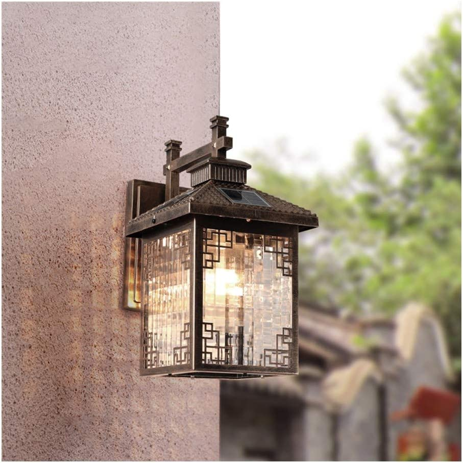 テーブルベッドサイドランプデスクライトブックライト 光制御ソーラーウォールライト屋外防水ガーデンライトレトロなヨーロッパのコートヤードウォールランプガーデンバルコニー屋内と屋外の風景ランプに適し (Color : Brass)