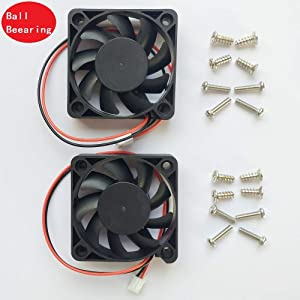 2 Packs 5010 50mm Fan -50mmx50mmx10mm Dual Ball Bearing Computer Fan 3D Printer Fan Thermal Fan,12v DC 2pin UL Certified Long Life Cooling Fan(Speed:7000RPM)