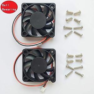 2 Packs 5010 50mm Fan -50mmx50mmx10mm Dual Ball Bearing Computer Fan 3D Printer Fan Thermal Fan,12v DC 2pin UL Certified Long Life Cooling Fan(Speed:7000RPM)