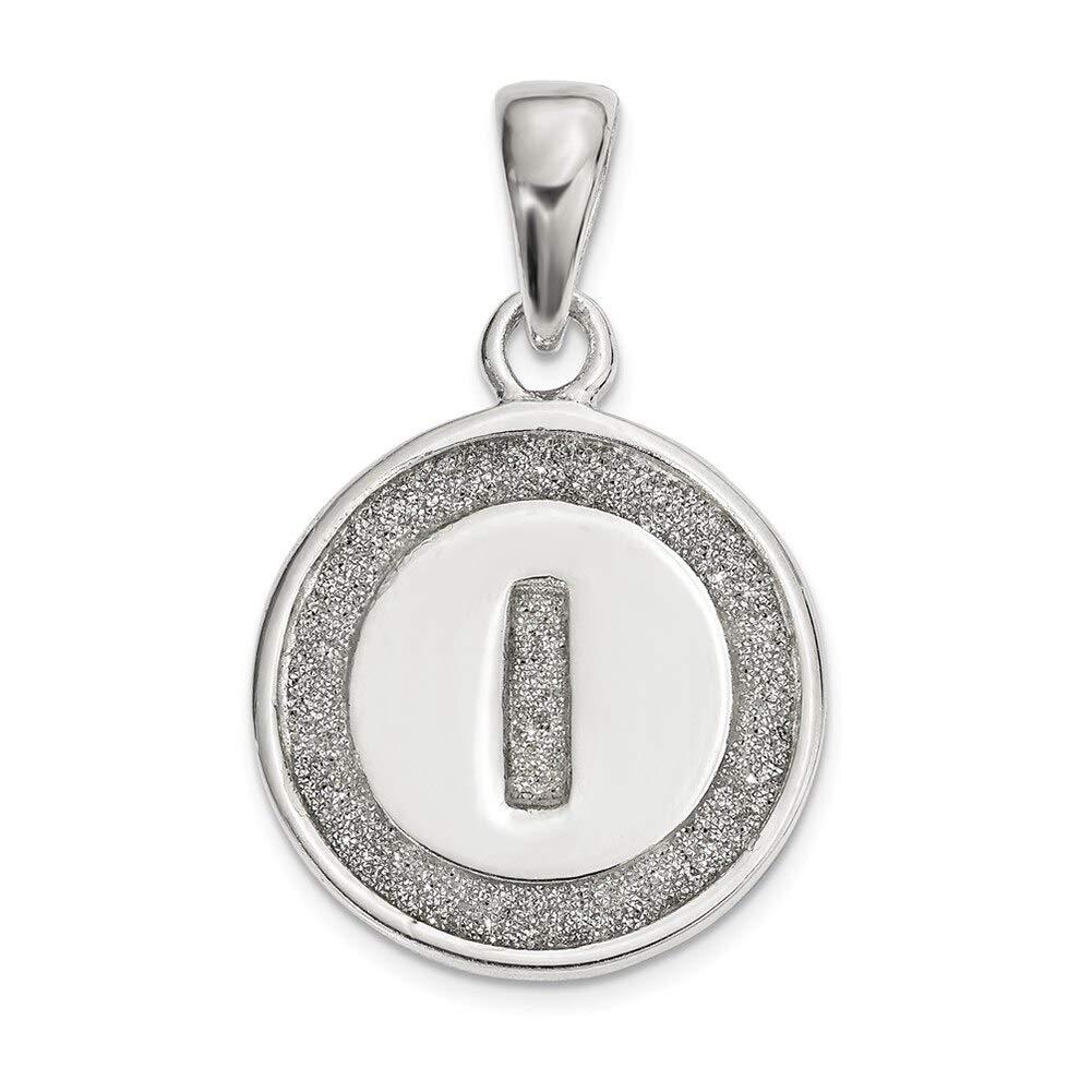 Lex /& Lu Sterling Silver Glitter Enamel Letter I Circle Pendant-Prime