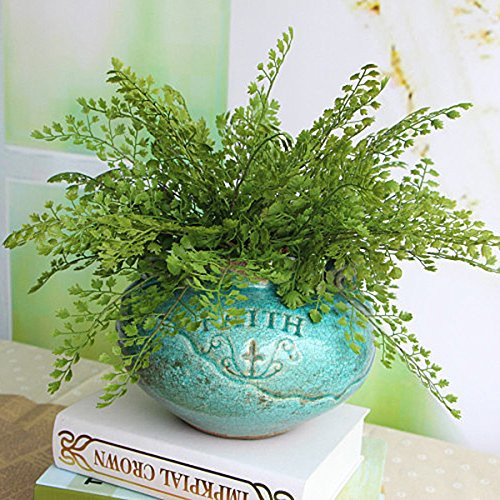 Kicode Grass Plant Gingko Biloba Fake Plant Green Artificial for Home Decor Indoor Outdoors 10.92