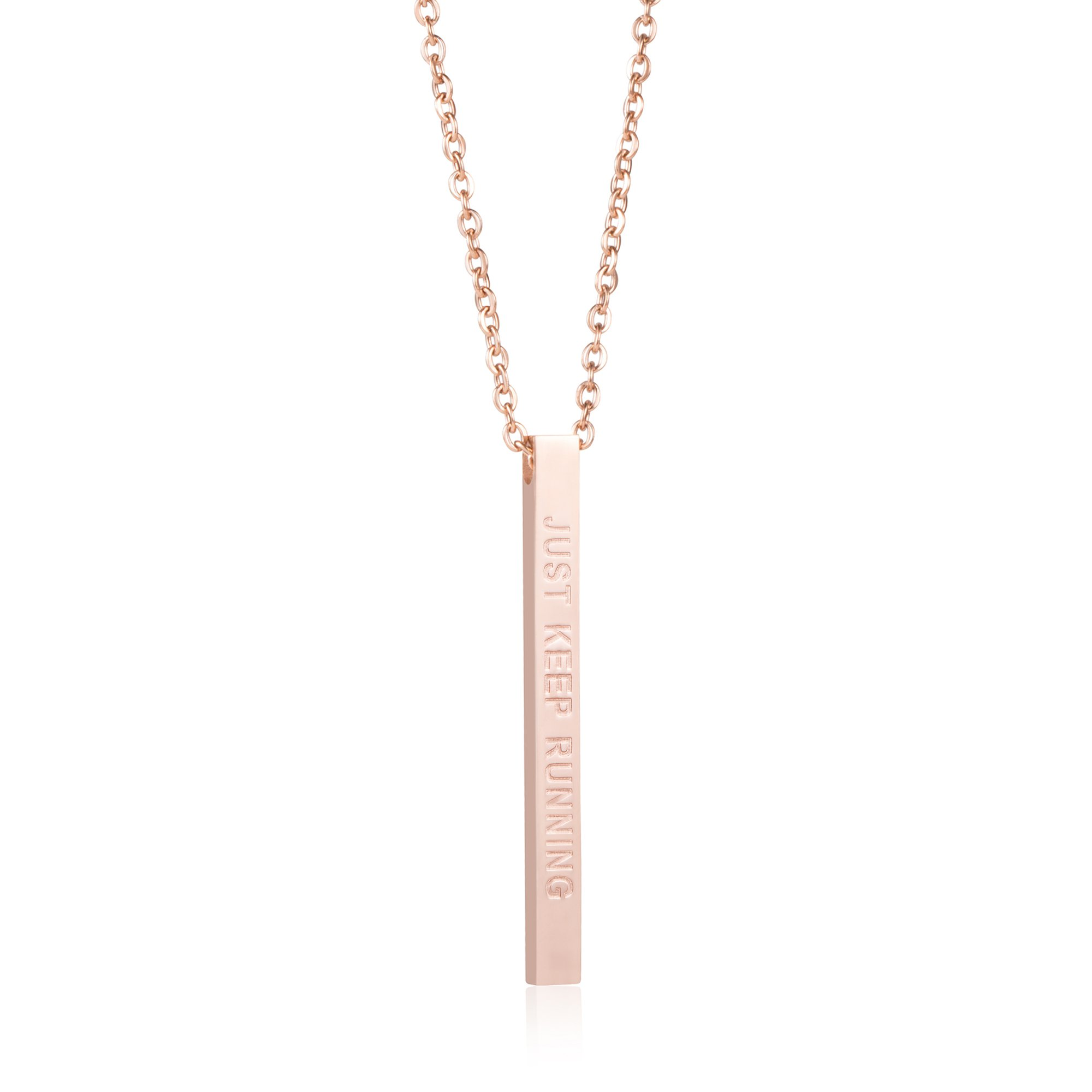 Joycuff Runner Gift Encouragement Jewelry for Women Vertical Bar Necklace Just Keep Running
