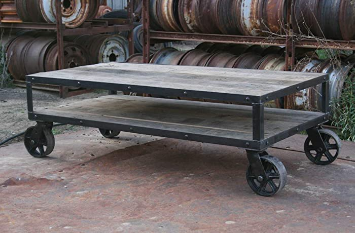 Merveilleux Amazon.com: Vintage Industrial Coffee Table. Rustic Industrial Display Table.  Reclaimed Wood. Casters.: Handmade