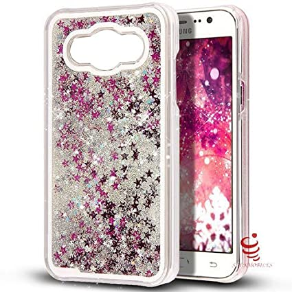 huge selection of bbb21 e2e78 Smkmobiles Creative and Unique Design Quicksand Flowing Liquid Dynamic  Floating Luxury Bling Glitter Sparkle Stars Hard Back Case Cover for  Samsung ...