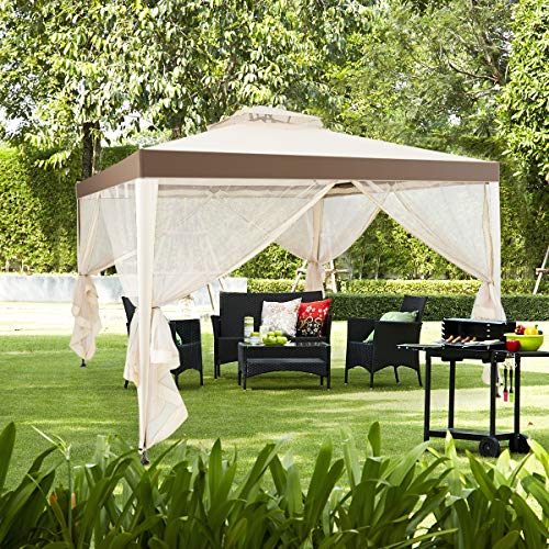 Tangkula 10/'x 10/' Canopy Gazebo Tent Shelter Art Steel Frame Garden Lawn Patio House Party Canopy Home Patio Garden Structures Gazebos W//Mosquito Netting Coffee