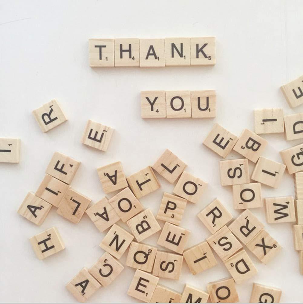 CLBEST 100 Unids//Set Palabras Inglesas Letras Del Alfabeto de Madera Letras de Scrabble Juguetes Educativos De Madera