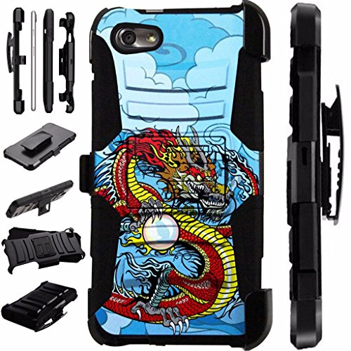 For ZTE Tempo Go / ZTE Avid 557 Case Armor Hybrid Case Silicone Cover Kick Stand LuxGuard Holster (Red (Dragon Phone)