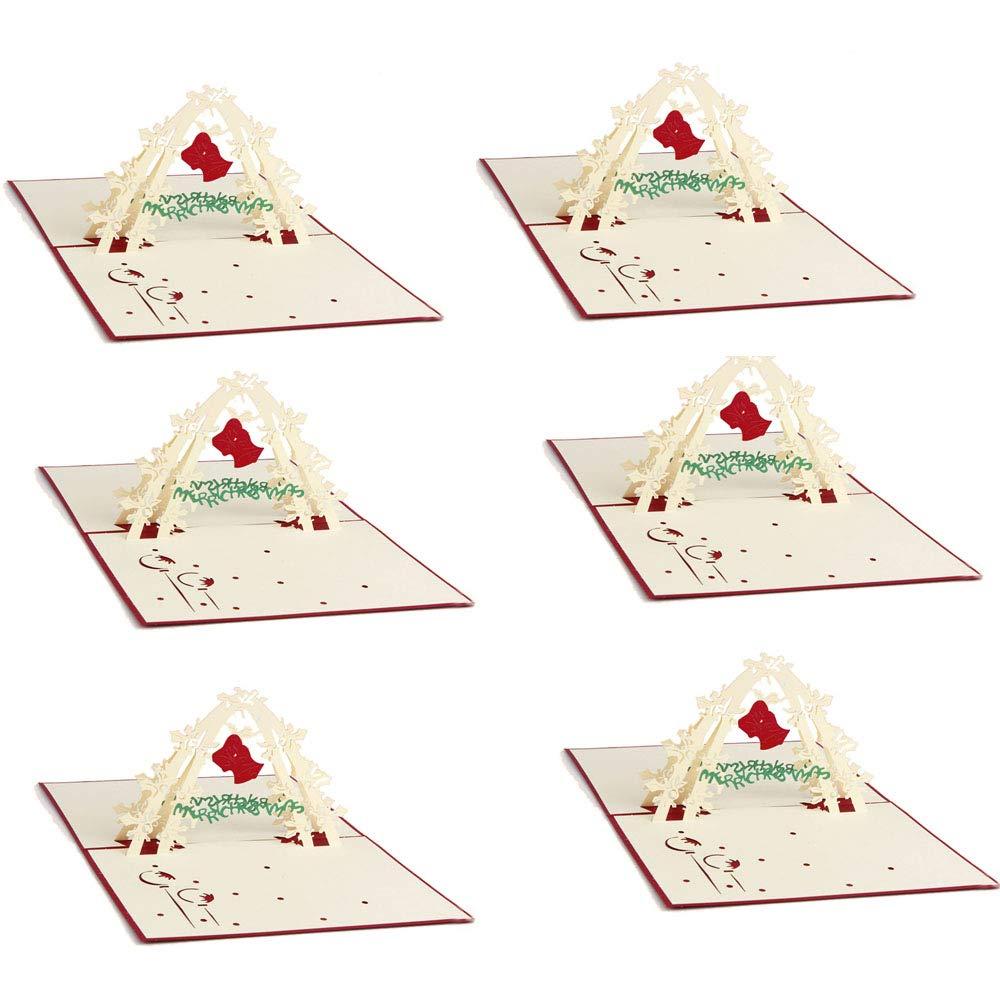 MKHDD 3D Türklingeln Einladungskarten Frohe Weihnachten Grußkarten Weihnachten Veranstaltungen Dekoration Geschenke Gäste Grußkarte -6Card