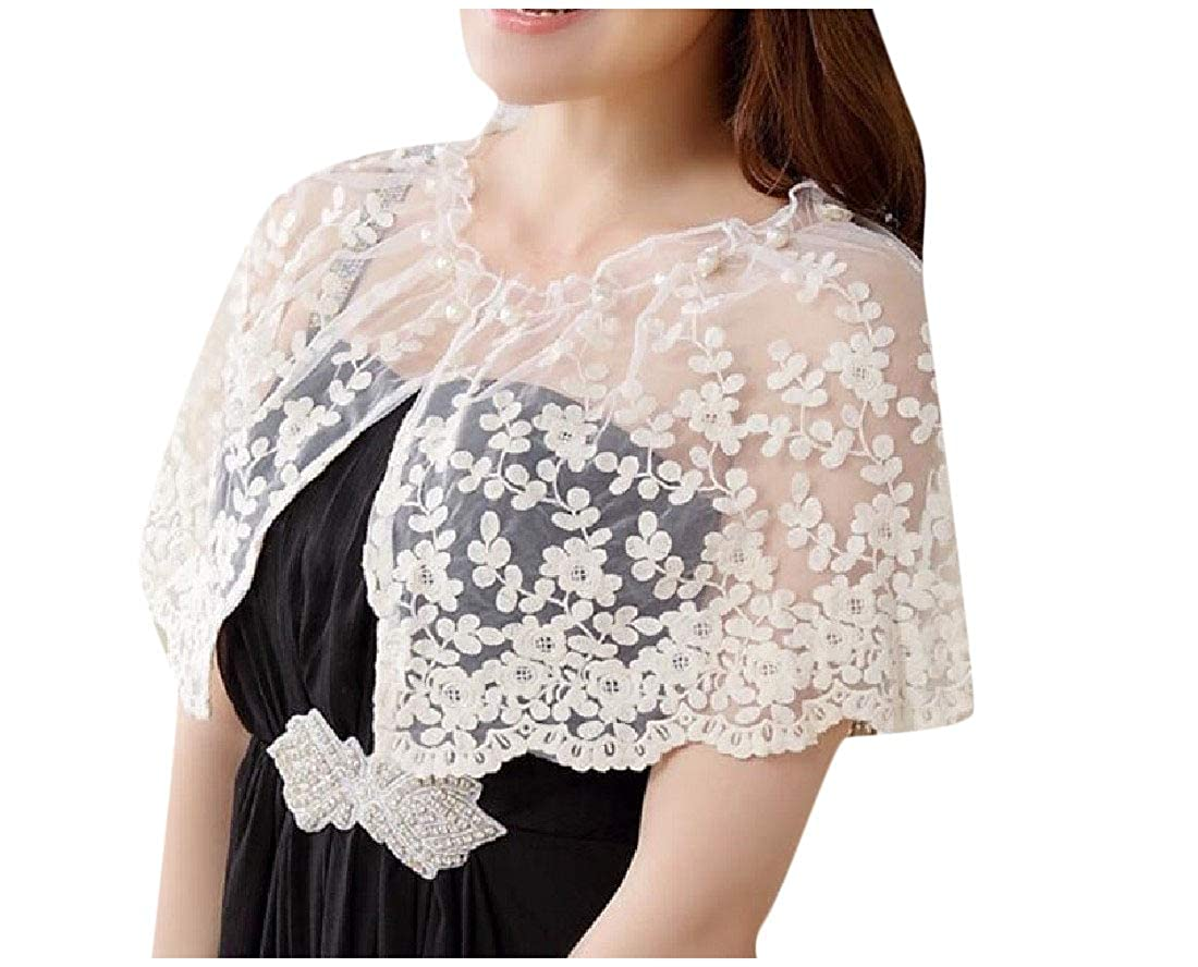 Comaba Womens Lace Patchwork Capes Solid-Colored Open Front Bolero Shrug