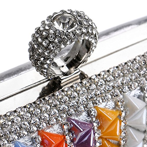 For Gift Wedding Prom Rhinestone Silver Bridal Evening Party Shoulder Clutch Antique Glitter Purse Bag Women Diamante Bag Clubs Handbag Ladies OnPU1wS