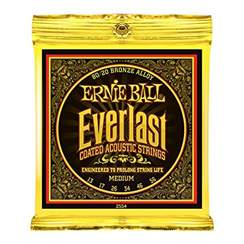 Ernie Ball Everlast Medium Coated 80/20 Bronze Acoustic Set, .013 - .056 (Acoustic Basses)