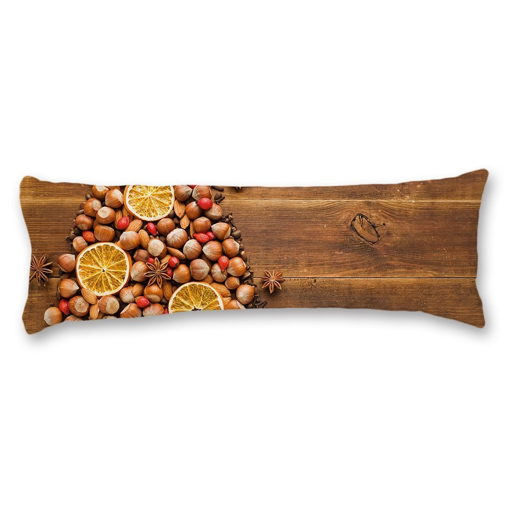 wonbye Christmas Tree Made Of Nuts Wood Pattern Body Pillow Covers Cases With Double Sided 20''x54'',Home Bedroom Living Room Decor