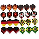Taloyer Pack of 24pcs High Quality Plastic Dart Flights Nice Dart Wings Tails Accessories Assorted Popular Designs