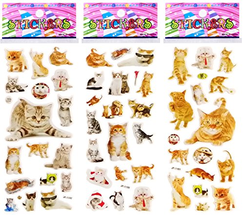 (6 Sheets Puffy Dimensional Scrapbooking Party Favor Stickers + 18 Free Scratch and Sniff Stickers - CAT,)