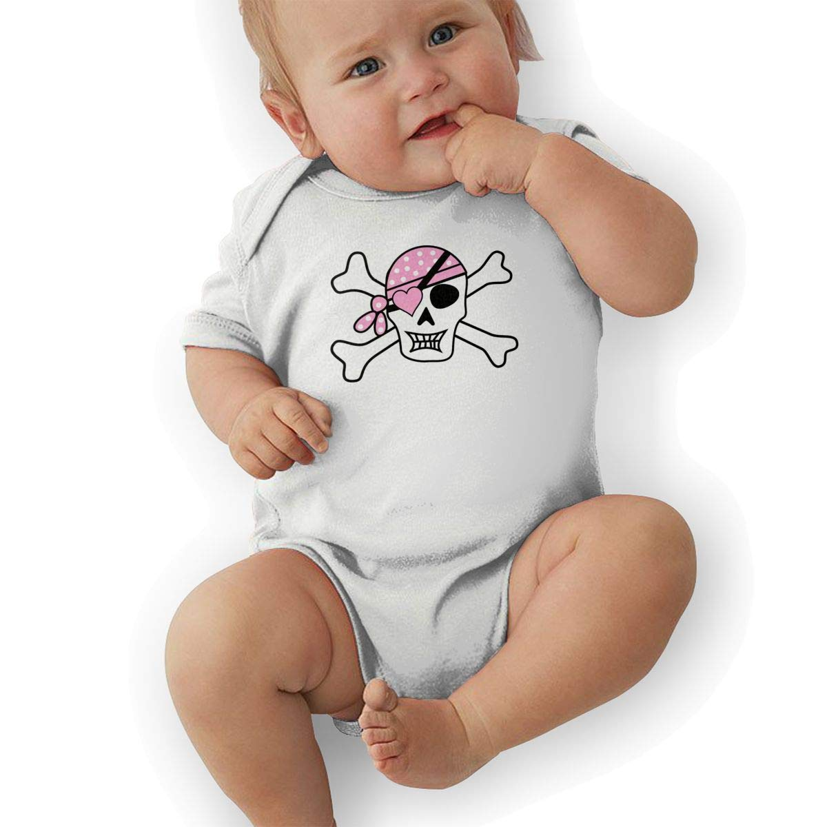 HappyLifea Pirates Pink Turban Newborn Baby Short Sleeve Romper Infant Summer Clothing Black