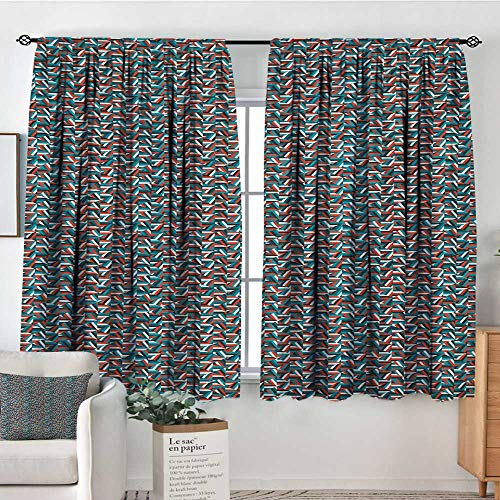 (All of better Geometric Thermal Insulating Blackout Curtain Random Stripes Triangle Shapes Mosaic Ornament Fractal Look Contemporary Design Patterned Drape for Glass Door 63